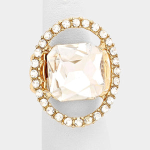 BIG Gold Clear Princess Cut Square Crystal Stretch Cocktail Ring