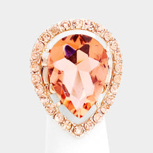 BIG Rose Gold Peach Teardrop Crystal Stretch Cocktail Ring
