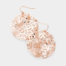 "BEAUTIFUL  Rose Gold Big 2"" Filigree Circle Earrings"