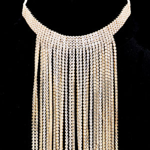 STUNNING Gold Cubic Zirconia Tassel Chain Choker Necklace