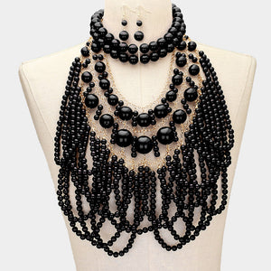 LUXE Statement Gold Black Pearl Bib Choker 2 Piece Necklace Set