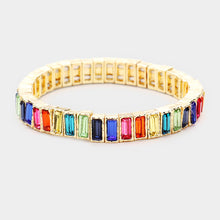 Gold Multi Shades Crystal Stretch Cocktail Bracelet