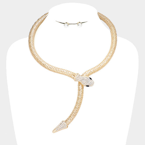 STATEMENT Gold Green AB Crocodile Alligator Crystal Necklace By Rocks Boutique