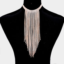 STUNNING Rose Gold Cubic Zirconia Tassel Chain Choker Necklace