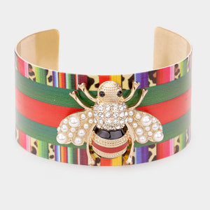 RARE Statement Gold Multi Coloured Crystal Bee Cuff Bangle