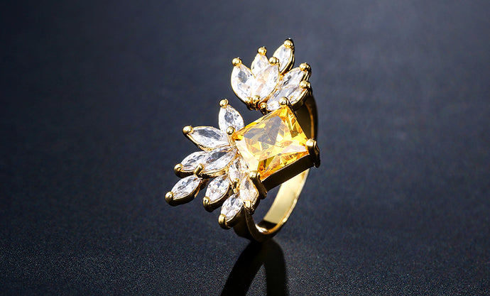 STATEMENT Gold Jonquil Yellow CZ Adjustable Cuff Cocktail Ring