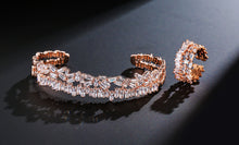 ELEGANT Rose Gold Clear CZ Adjustable Cuff Bracelet & Ring Set