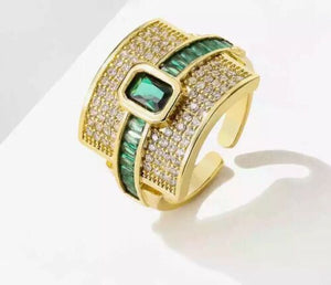 LUXE Elegant Gold Emerald Green CZ Adjustable Cuff Cocktail Ring