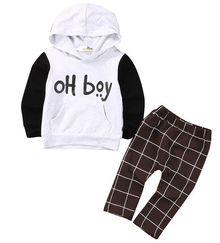 2pcs Toddler Kids Baby Boy Clothes Set OH Boy Hoodies Tops Casual Pants Plaid Clothing Boys Outfits