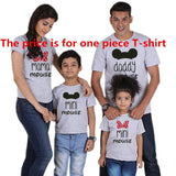 Family matching Shirt Minnie Short Sleeve Cartoon Tops Father Mother Son Daughter Matching Clothes Family Look Mickey Shirts