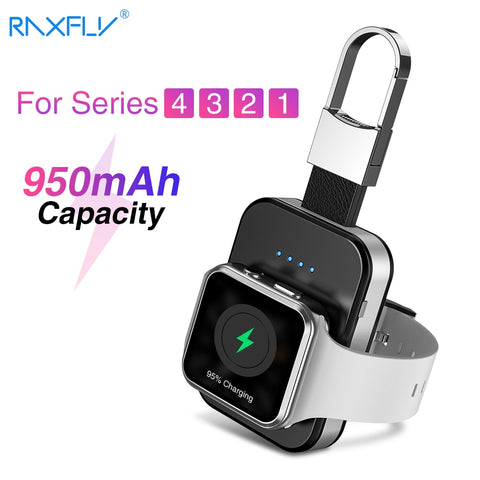 RAXFLY 950mAh Keychain Wireless Charger Mini LED Power Bank Dock For Apple i Watch Series 2 3 4 5 Outdoor Portable Fast Charging