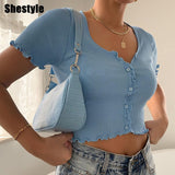 Shestyle Stretchy Ruffle Sleeve Crop Top Women 2020 Summer Button Green Blue Tight Rib-knitted Plain Sexy T-shirt