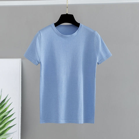 GIGOGOU Basic Cotton Summer T Shirt Women Knitted Short Sleeves Tee Shirt High Elasticity Breathable O Neck Female Top Tshirt