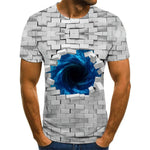 Three-dimensional tunnel graphic T-shirt casual Harajuku tops 3D lattice men's T-shirt summer O-neck shirt plus size streetwear