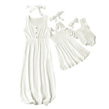Cute Baby Romper Summer Dress Mother And kids Casual Button Dress Solid Matching Mom Baby Family Clothes Outfits Cotton Dress