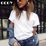 GCGY 2020 Brand New Womens Mix Cotton T-Shirt Pure Color Short Sleeve Women T shirt For Female Slim Tops Woman T shirts Clothing