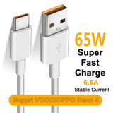 65W Super VOOC USB C Cable 6.5A Fast Charging Type-C Cable for Oppo Realme X 5 6 X50 X3 X5 Pro X50m X50t V5 C3 Quick Charge 3.0