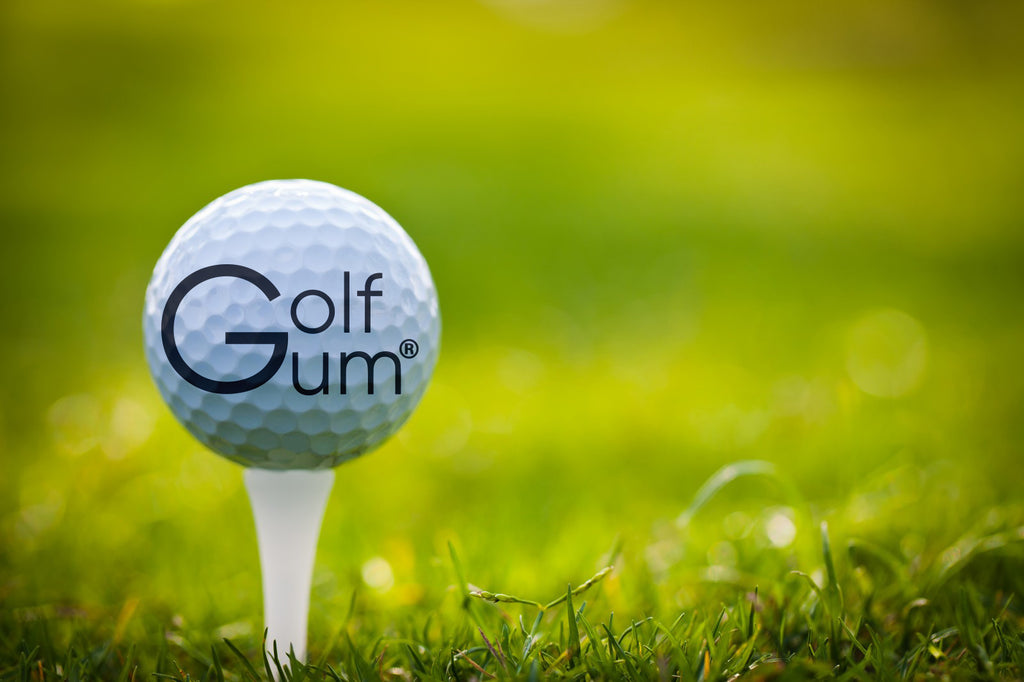 Golf Gum ball on tee