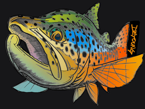DeYoung Brown Trout Foreshortened Cutout Decal
