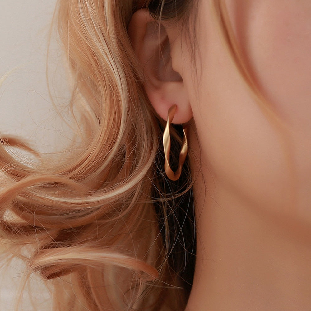 Gold Handwrought Hoop Earings