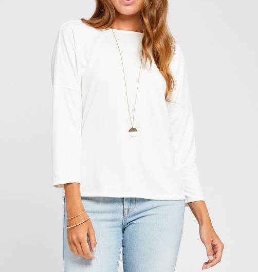 3/4 Cream Button Back Top