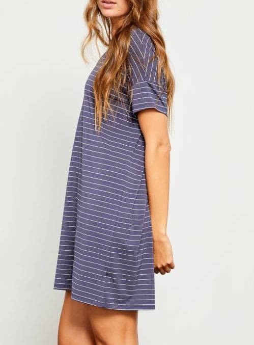 Navy Vneck Stripe Tee Dress