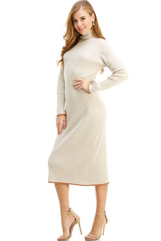 Beige Mock Ribbed Midi Dress