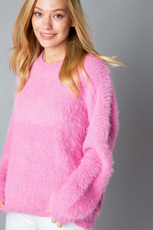 Pink Mohair Oversized Sweater