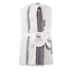 Gray ABC Chenille Blanket