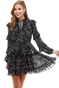 Black V-neck Ruffle Sleeve Dress