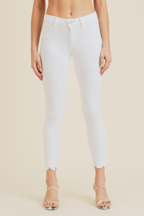 White Mid Rise Frayed Skinny Jean