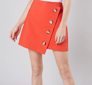 Orange Asymmetric Wrap Skirt