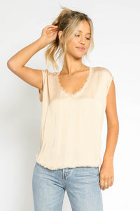 Champagne V-neck Frayed Hem Top