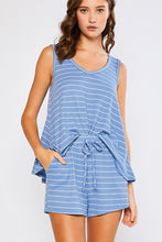 Blue Stripe Tank Lounge Set