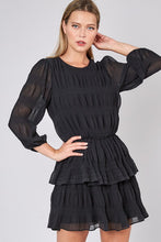 Black Ruched 3/4 Sleeve Dress