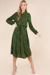Green Leopard Tie Waist Dress