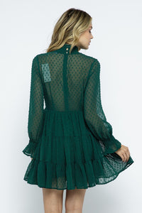 Green Dot Mockneck Long Sleeve Dress
