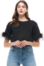 Black Feather Trimmed S/S Top