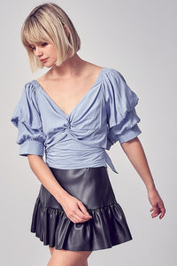 Blue Puff Slv Tie Back Top