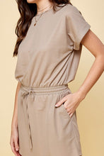Taupe Elastic Waist Mini Dress