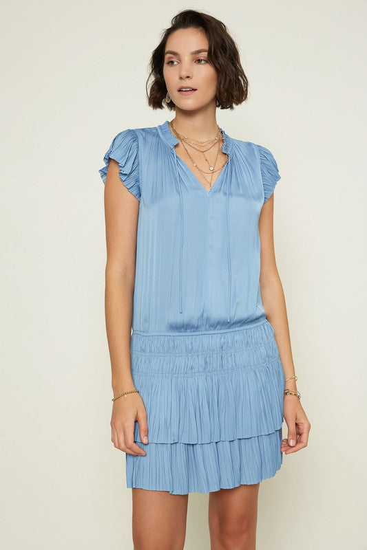 Peri Blue S/S Pleated Mini Dress