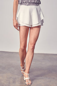 White Tiered Detail Skirt
