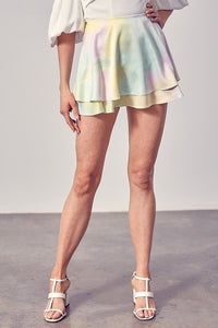 Double Layer Tie Dye Skort