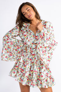 Mint Floral Bell Sleeve Mini Dress