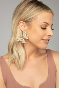Gold & White Monarch Earrings
