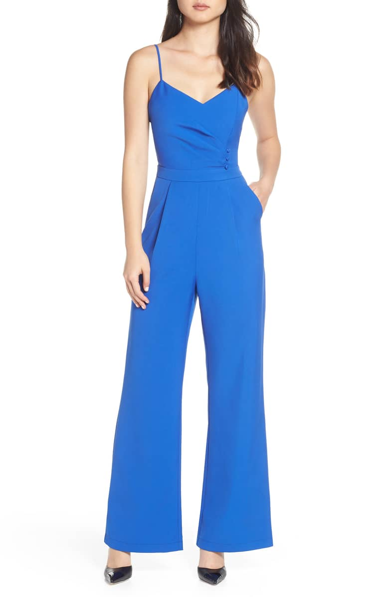 Tierney Persian Blue Pleated Jumpsuit