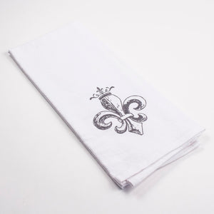 Royal Fleur White & Grey Hand Towel