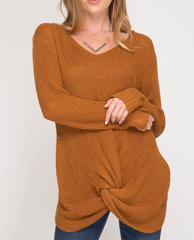 Caramel L/S Front Twist Sweater