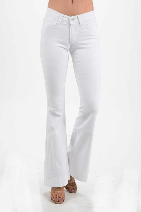 White Wide Leg Flare Jeans-GD