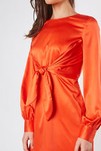 Tangerine Satin Front Knot Dress